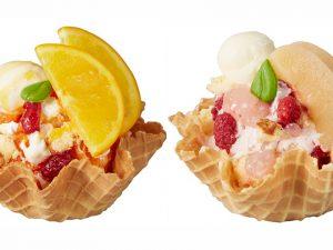 どっちのアイスが好み?桃とオレンジのジューシーな期間限定フレーバーの画像