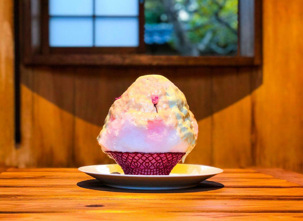 桜咲き誇る古民家で味わう桜風味のティラミス&かき氷