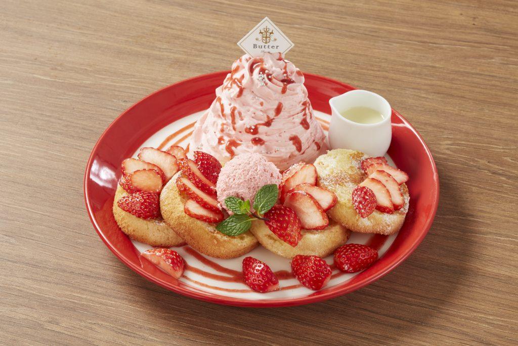 大人気のスフレパンケーキが苺づくしに! ストロベリーフェアが開催中