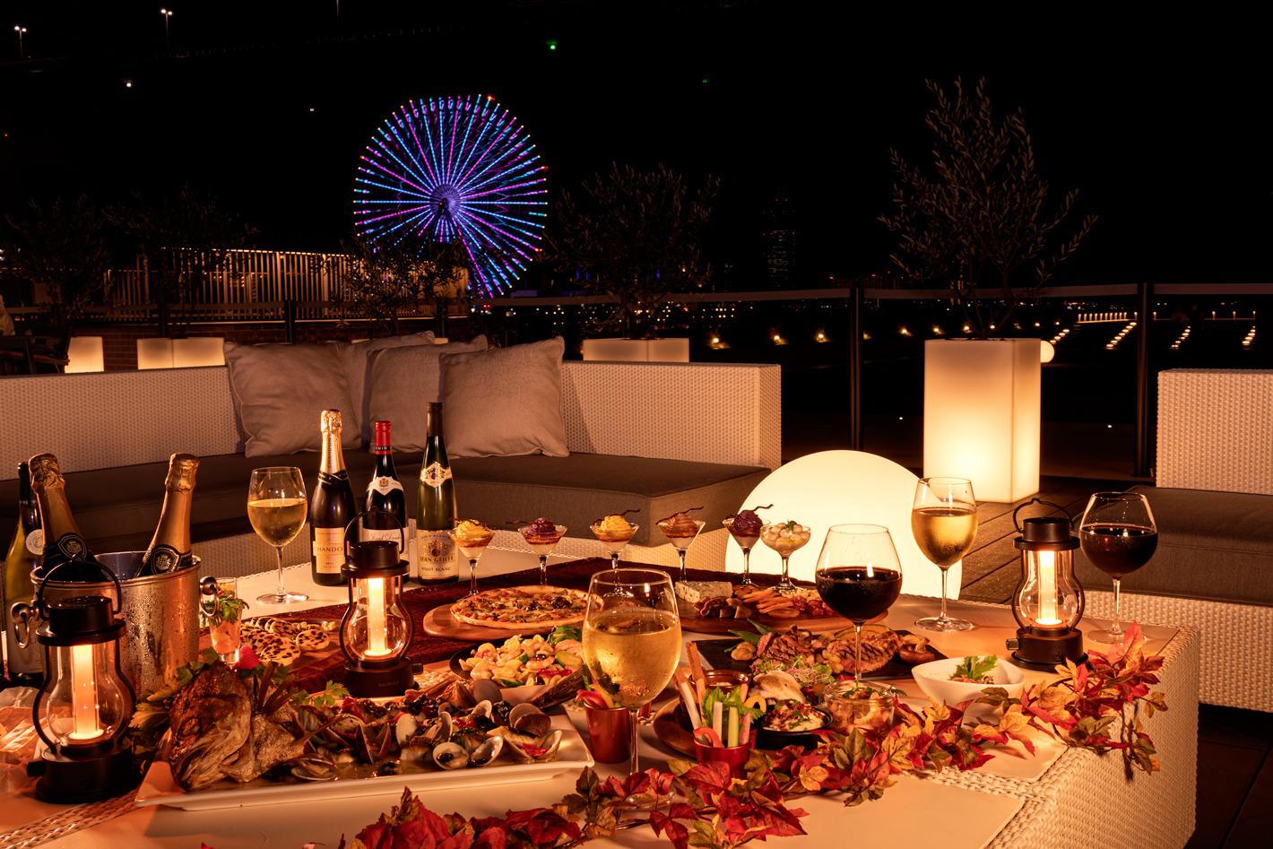 秋の味覚や厳選ワインが食べ・飲み放題! 大阪ベイエリアの夜景を一望できるワインテラス開催中